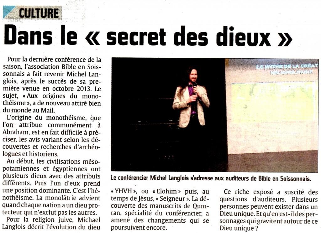 À propos de la conférence de Michael Langlois à Soissons le 20 février 2014, Aux origines du monothéisme