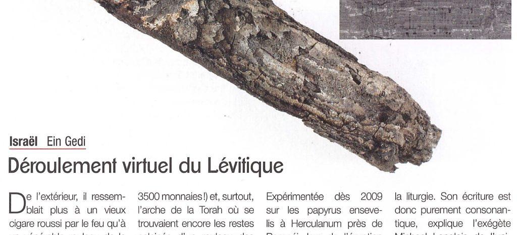 Déroulement virtuel du Lévitique, Le Monde de la Bible n° 215, p. 78