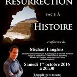 Conférence La Résurrection face à l'Histoire 1er octobre 2016 Clermont-Ferrand affiche