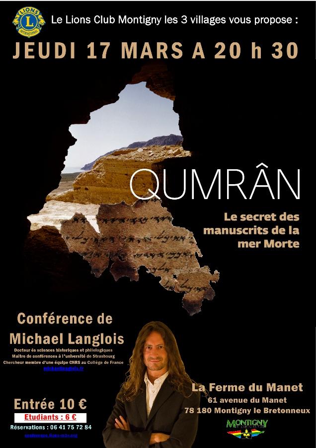 Conférence Qumrân Lions Club Montigny les 3 Villages