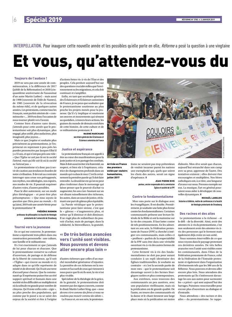 thumbnail of Et vous, qu'attendez-vous du protestantisme – Réforme 3783, 03-01-2019, p6-9