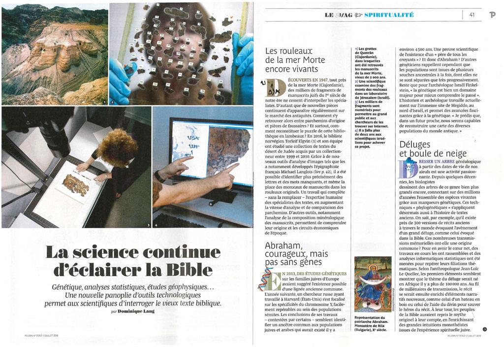 thumbnail of La science continue d'éclairer la Bible, Pèlerin 7076, 12 juillet 2018, p. 40-42