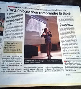 L'archéologie pour comprendre la Bible, Le Berry républicain, 9 nov 2017