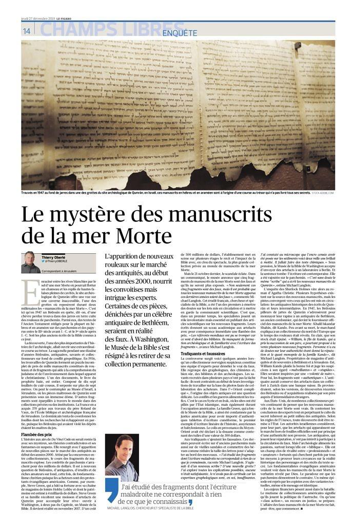 thumbnail of Le mystère des manuscrits de la mer Morte, Le Figaro, 27 décembre 2018