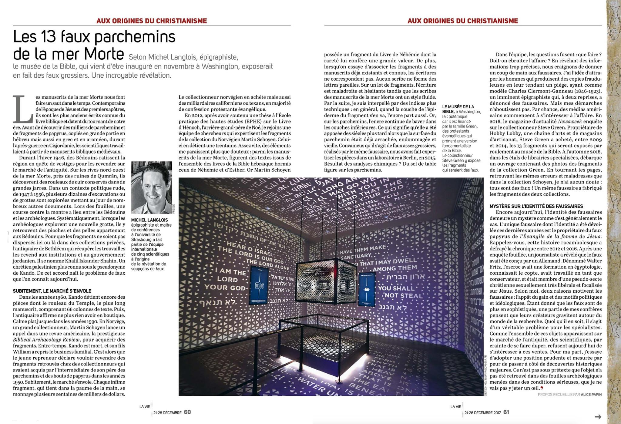 thumbnail of Les 13 faux parchemins de la mer Morte, La Vie, 21 décembre 2017, p. 60-61