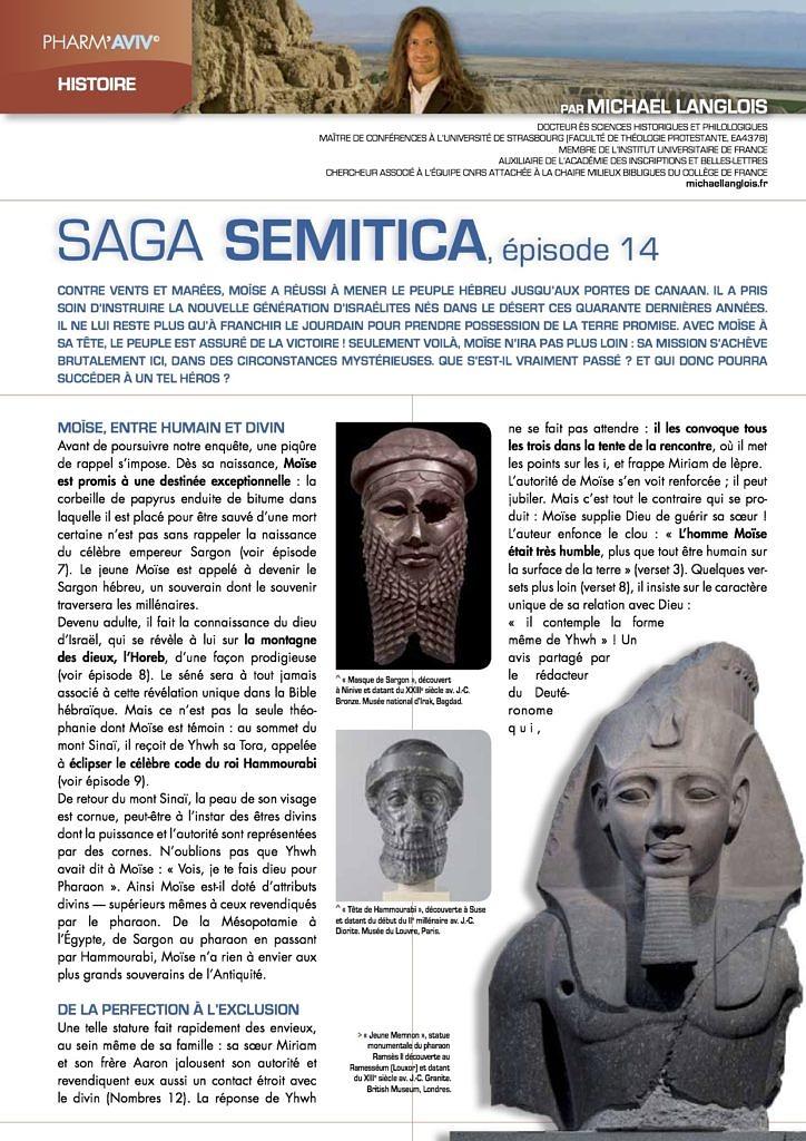 """Michael Langlois, """"Saga Semitica, épisode 14"""" in Pharm'Aviv 140, Octobre 2014, p. 17-19"""