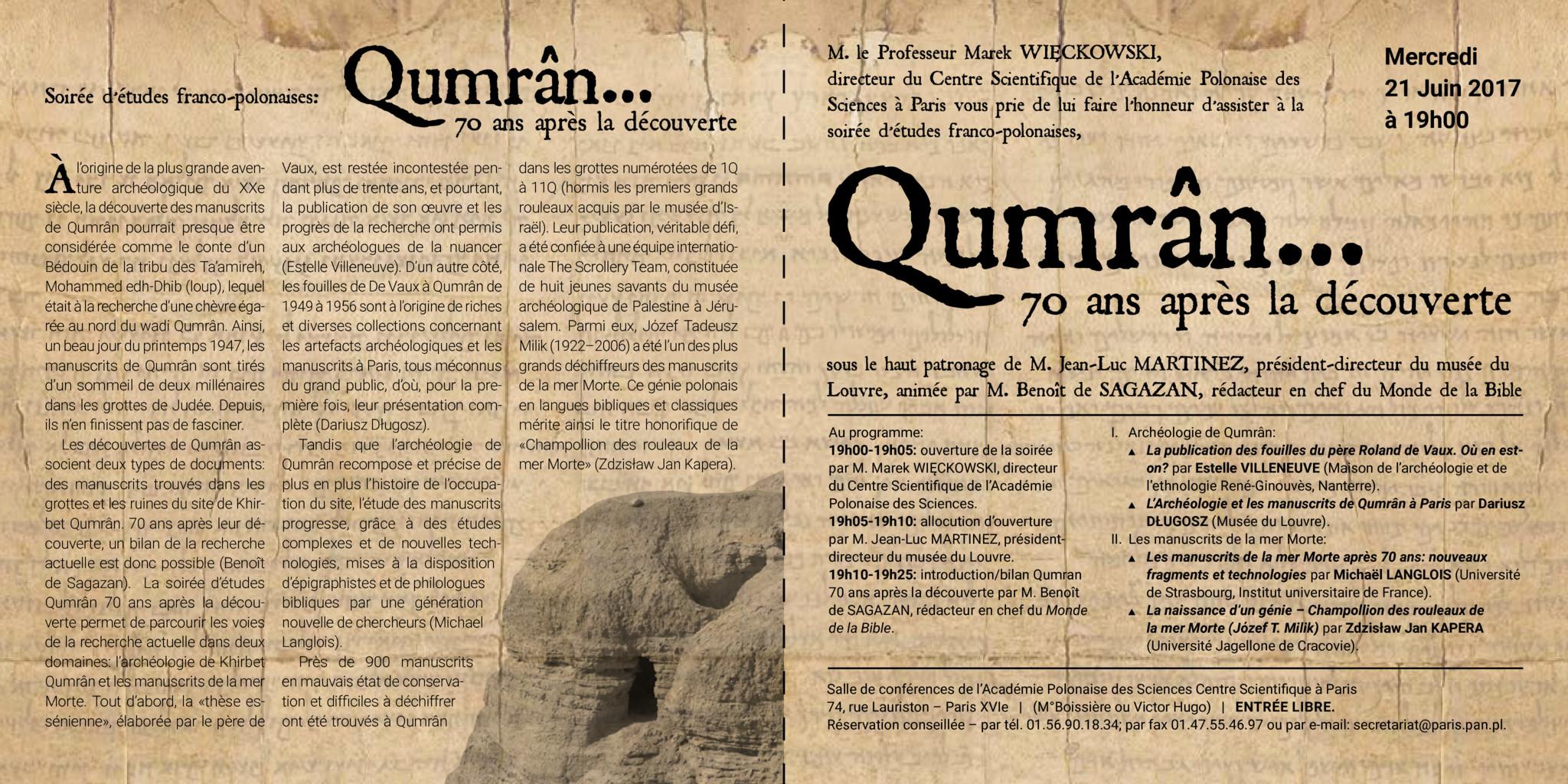 thumbnail of Qumrân 70 ans après la découverte — programme